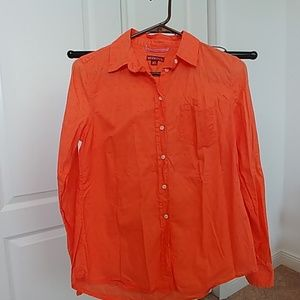 Orange button down
